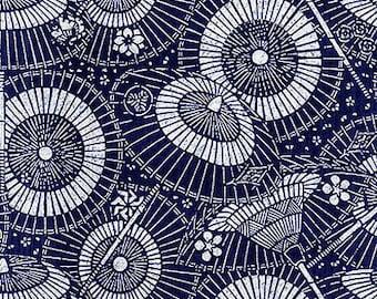 JAPANESE INDIGO KATAGAMI Fabric: Parasols (1/2 Yd Increments)