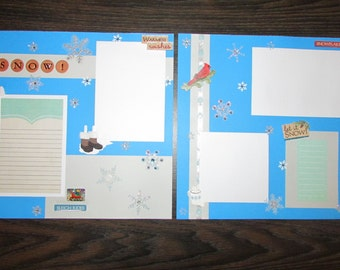 12x12 Premade Snow Scrapbook Pages, Snow Layout, Premade Snow Pages, Premade Snow Scrapbook Layout, Snow Scrapbook Pages, Premade Scrapbook