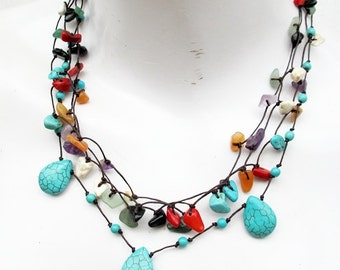 Water Drop Turquoise Multi Nugget Stone Multi Strand Layered Necklace