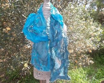 Nuno Felted  Blue Silk Scarf