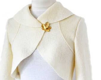 Women Boiled Wool Wedding Bolero Bride Jacket Size XS-XL  Ecru Creme White
