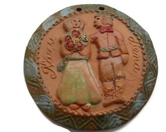 Wedding medallion clay vintage brown amazing OOAK