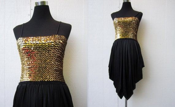 Vintage 70s Disco Dress 1970s Gold Sequin Dress High Low Black
