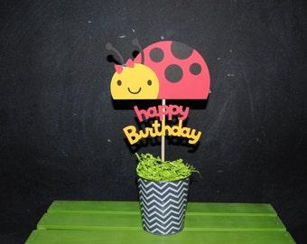 Ladybug Cake Topper With Happy Birthday