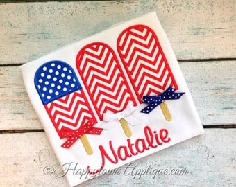 Popsicle Flag Machine Embroidery Design