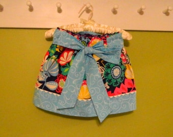 Multi Color Flowered Reversible Baby/Girl's Skirt with Tie Sash