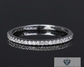 Full Diamond Pave Wedding Band 14k Gold