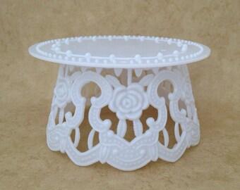 1 Large White Ornate Cake Topper Base Pedestal