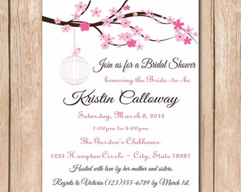 Cherry Blossom Bridal Shower Invitation | ANY COLOR Blossoms - 1.00 each printed or 10.00 DIY file