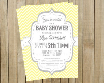 Vintage Yellow Chevron with Gray Baby Shower Invitation, Custom Digital File, Printable
