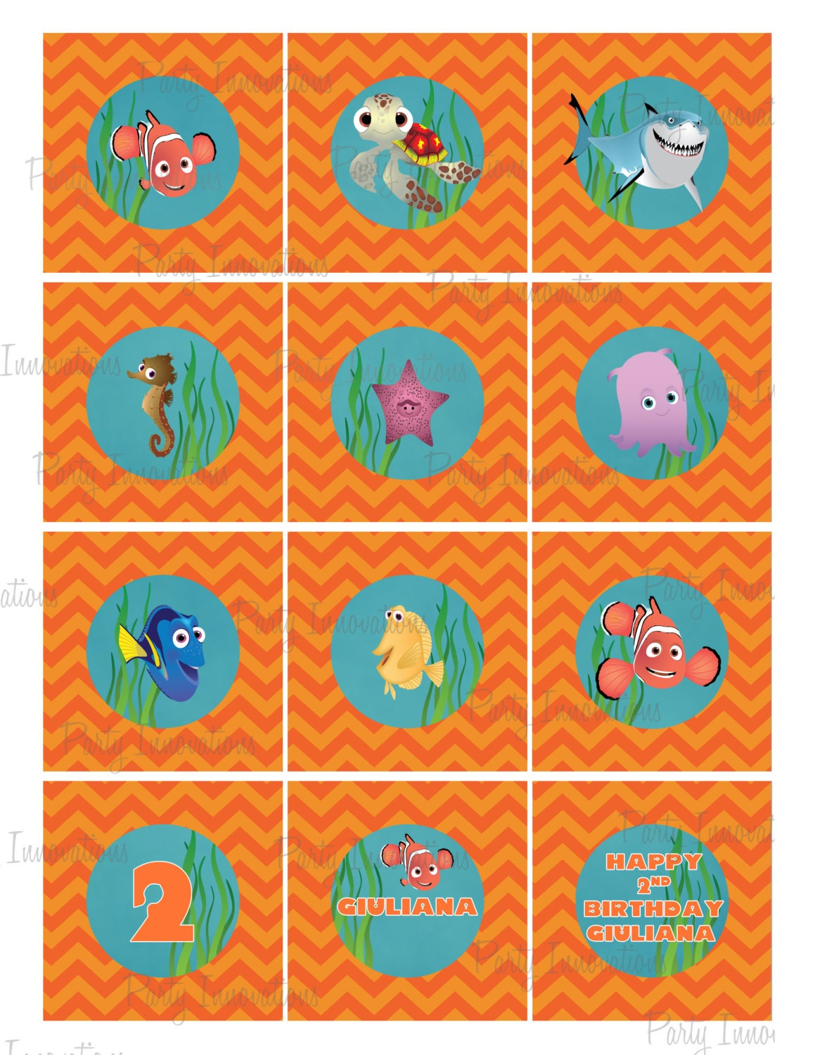 Printable finding nemo cupcake toppers for Nemo cake template