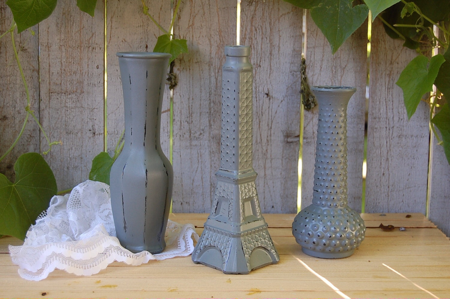 shabby chic vases pewter grey hand painted distressed. Black Bedroom Furniture Sets. Home Design Ideas