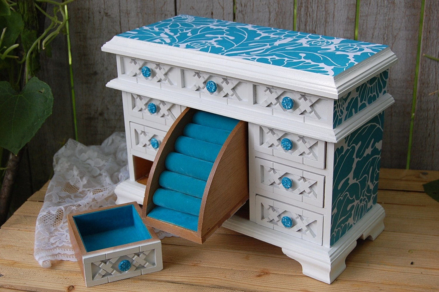 jewelry box shabby chic beach farmhouse by thevintageartistry. Black Bedroom Furniture Sets. Home Design Ideas
