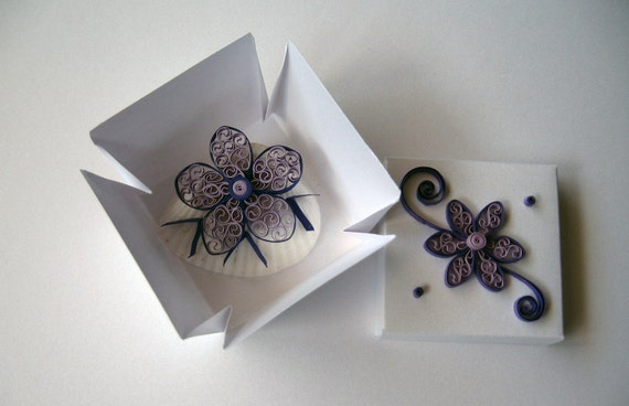 Wedding Favor Box - Seashell Wedding Favor - Quilling Flower Design - Gift Box - Beach Wedding Party