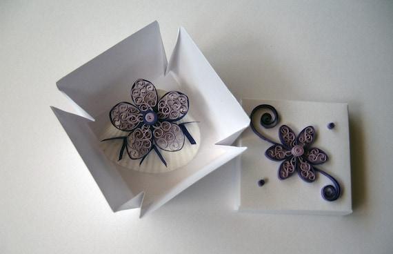Wedding Favor Box - Seashell Wedding Favor - Quilling Flower Design - Gift Box - Beach Wedding Party