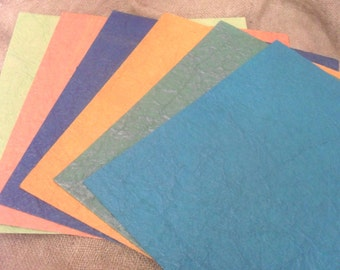 """12"""" scrap book pages. Tree free eco-friendly hand made cotton textured paper, set of 6."""