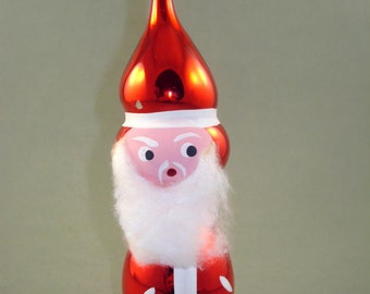 Vintage Old Russian Hand Blown Glass Christmas Tree Ornament Santa Claus
