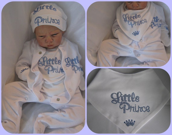 Newborn or 0-3 months Baby boy royal prince 2013 crystal hat mittens vest bib one piece suit clothing gift set baby shower idea