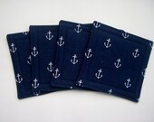 Set of 4 Fabric Coasters - Navy, Anchor, Blue - GulfBreezeCoasters