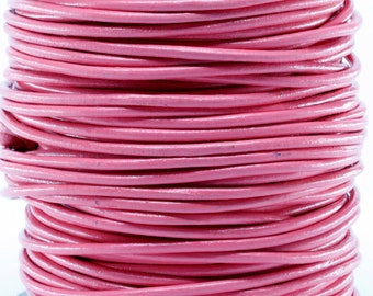 10 Meters of 3MM Pink Round Leather Cord (10 yards) (10m)