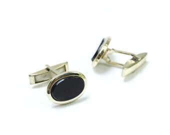 Vintage Gold Plated Black Stone Cufflinks, Mens Geometric Cufflinks, Bulgaria Made,1970s - 1980s, Mens Jewerly, Gift for Him, ohtteam