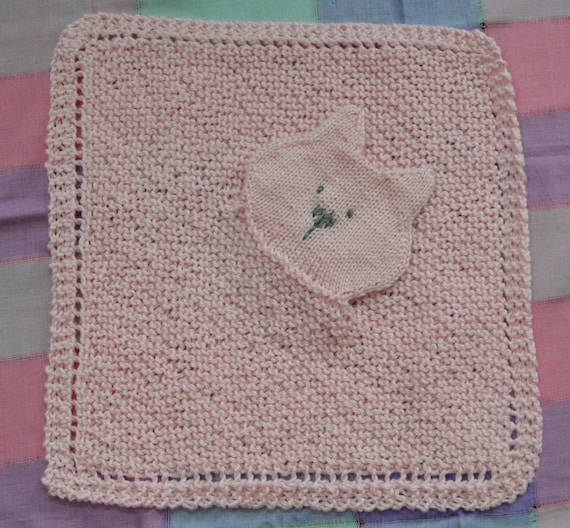 Knitting Pattern For Security Blanket : PDF Knitting Pattern Kitten Cat Security blanket lovey