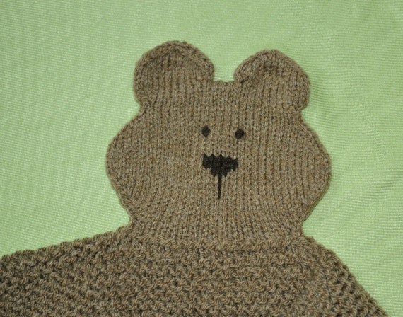 Knitting Pattern For Teddy Bear Baby Blanket : PDF Knitting Pattern TEDDY bear Security blanket lovey ...