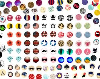 Lot de 50 Planches de 54 images digitales pour cabochons RONDES 10MM