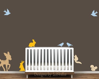 Children's Wall decal, forest animals include deer, birds, squirrels, and bunnies