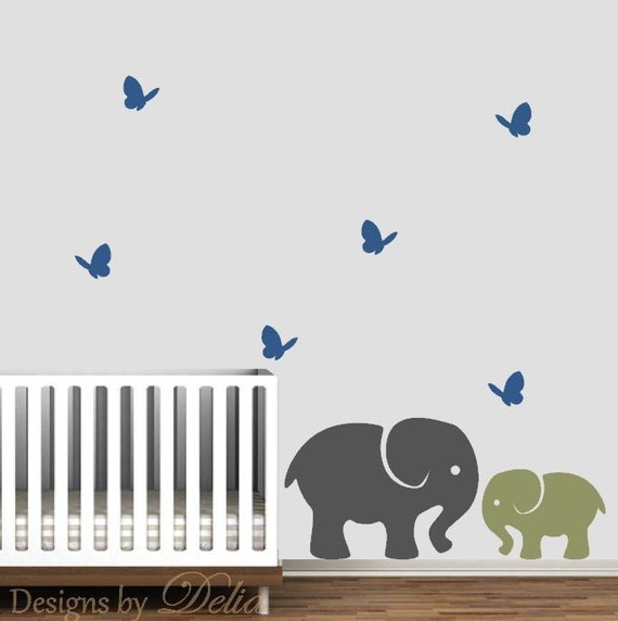 Nursery Decor Baby Elephant With Parent Elephant And