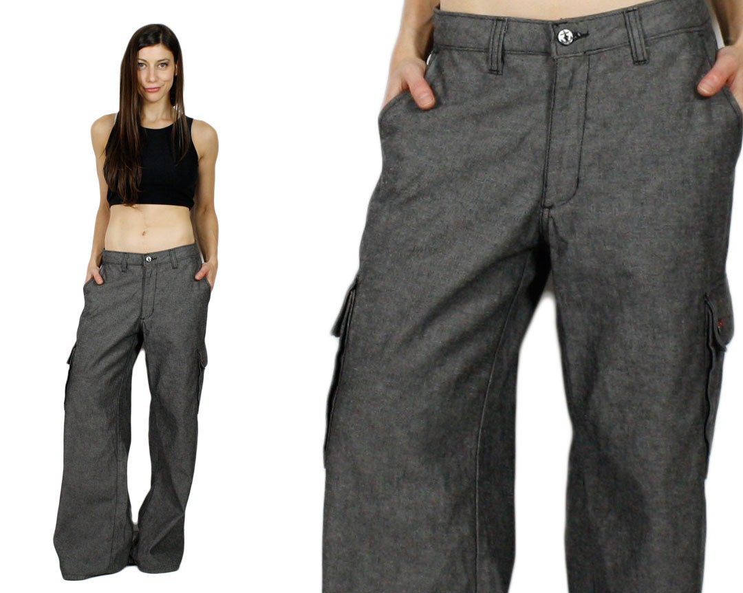 Items similar to Gray Denim Cargo Pants. 90s Baggy Jeans ...