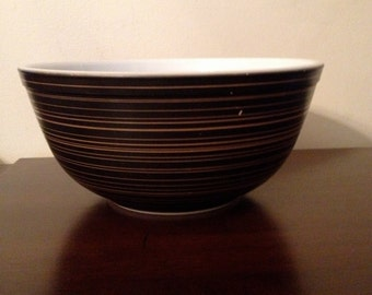 Vintage Pyrex Terra Black with Gold or Brown Stripes 2 1/2 Quart Mixing Bowl #403
