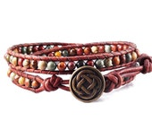 Leather Wrap Bracelet Red Creek Jasper Gemstones Celtic Knot Beaded Jewelry