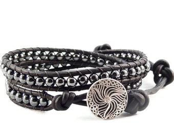 Leather Wrap Bracelet Hematite Gemstones Black Beaded Jewelry