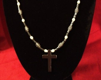 Hematite and Pearl Necklace with Cross