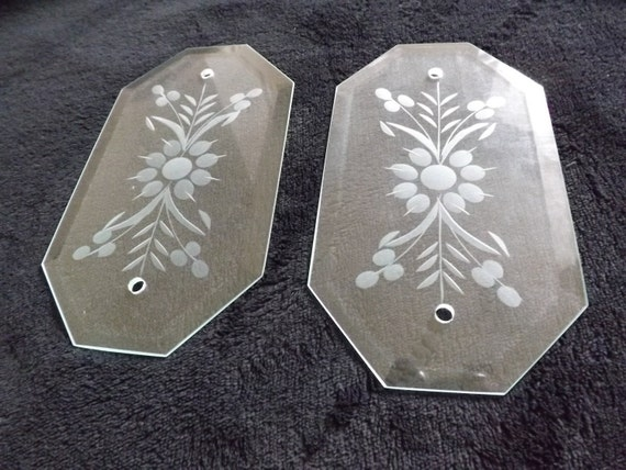 Vintage glass door push plates etched glass finger plates for Door push plates