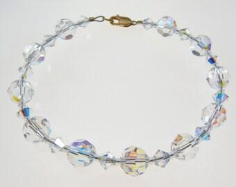 Swarovski Crystal Bracelet,  Aurora Borealis Crystal and Gold  Bracelet