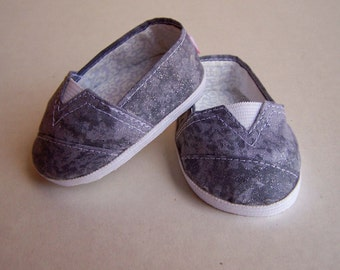 MADDIES - Toms Style Shoes for 18 inch dolls - Marbled Grey Sparkle