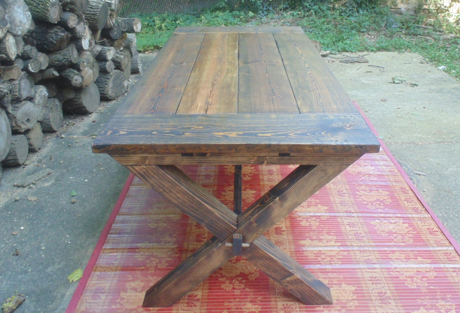 🔎zoom - Somerset Crossed Leg Dining Table Farmhouse Reclaimed Wood