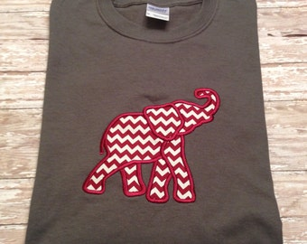 Alabama Crimson Tide Appliqued Elephant Long Sleeve T-shirt