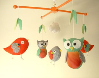 "Baby crib mobile, Bird mobile, felt mobile, nursery mobile, baby mobile,""Bird - orange green"""