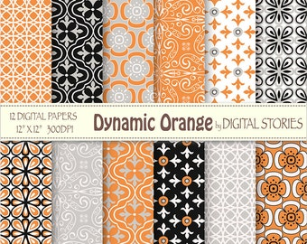 Orange Black Gray Retro Digital Paper Pack - Dynamic Orange - Instant Download