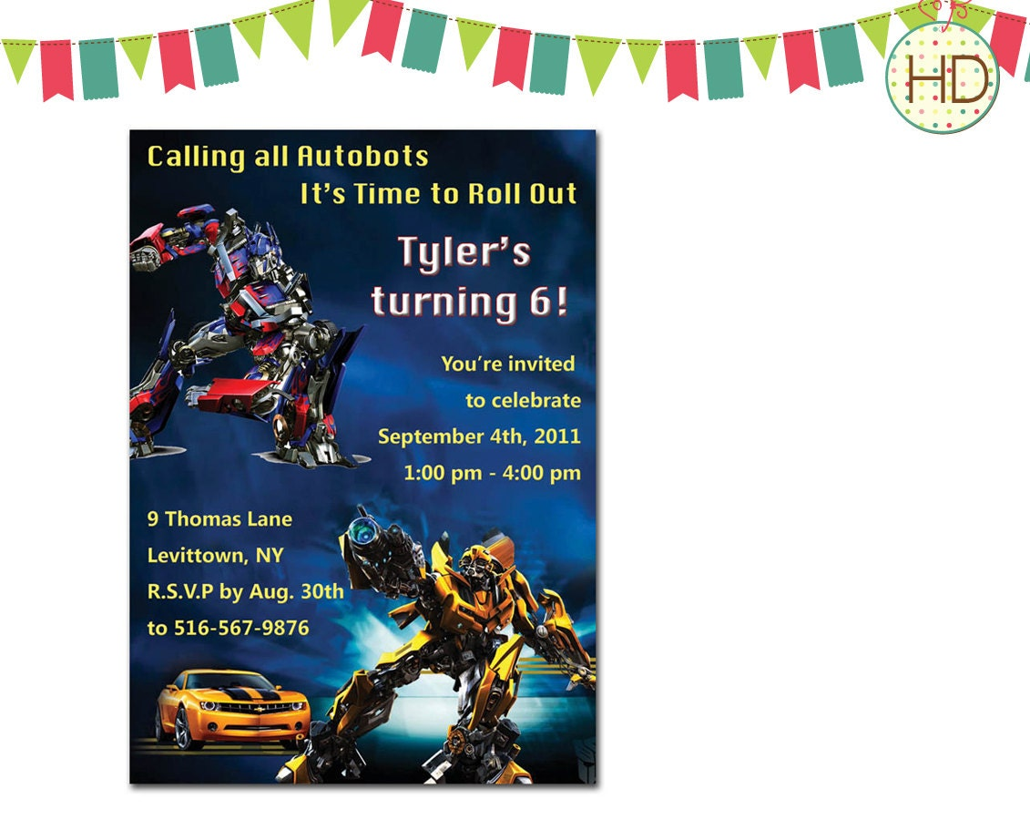 It is an image of Invaluable Transformer Birthday Invitations Printable Free