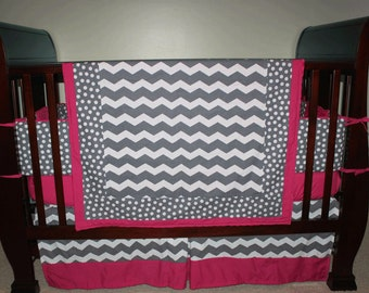 Custom Pink and Grey 4-Piece Bedding Set - You pick your fabrics