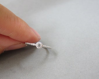 Tiny Adjustable Sterling Silver Solitaire Toe Ring, Luxury toe Ring, Also Midi Ring, knuckle Ring.