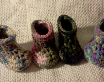 Camo Baby Booties 3 Sizes in 4 Colors