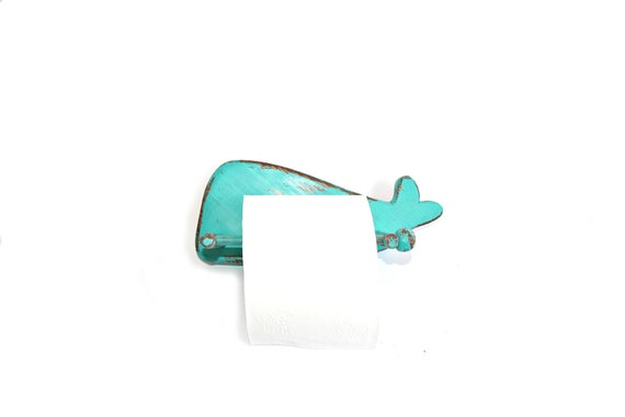 Toilet paper holder- Turquoise Whale