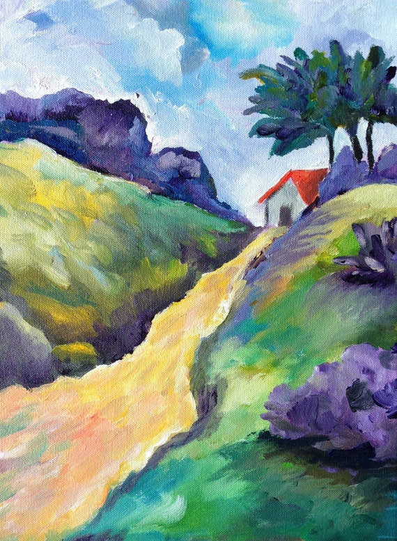 The Old Country Path Impressionist Landscape By