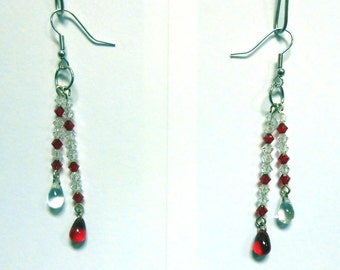 OOAK Hand Made Red and Clear Double Dangle Crystal Earrings Goth Halloween Vampire Blood Drop