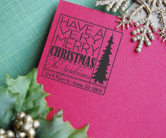 Square Christmas Return Address Stamp Holiday by ThePrintMint